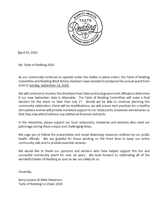 Taste of Redding COVID-19 Notice of Postponement